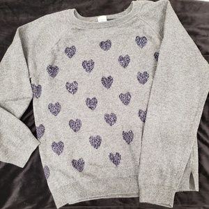 NWOT OshKosh gray sweater with metallic hearts